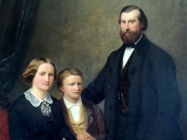 Kunstneren, hans hustru og deres sønn malt av Adolph Tidemand og Hubert Salentin.