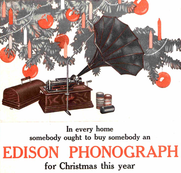 Reklameannonse for Edisons fonograf fra 1909. Bildet hentet fra www.saturdayeveningpost.com.