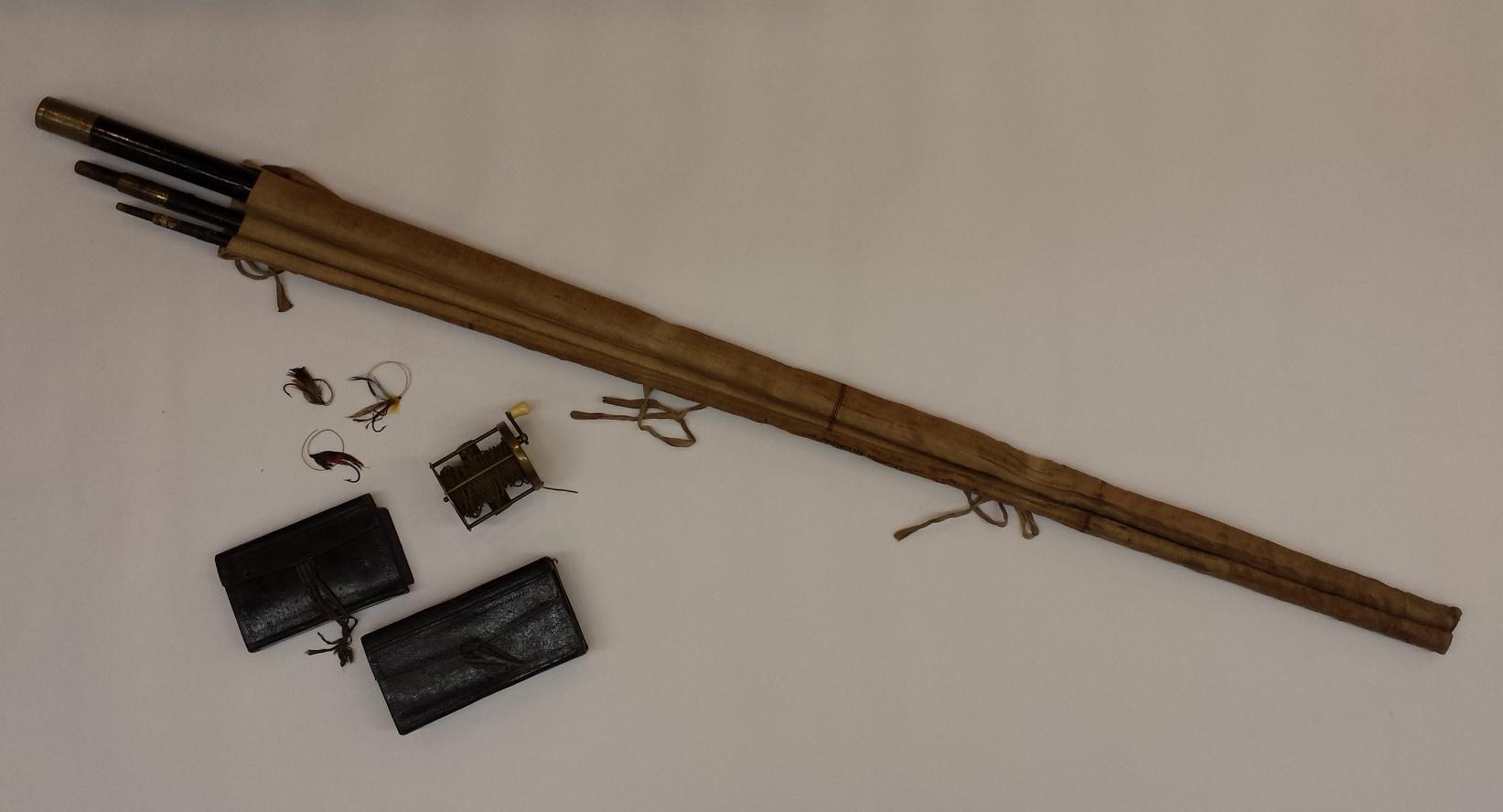 Laksefiskestang med utstyr